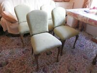 Solid wood Dining Chairs Cabriole legs Lime Green Fabric, refurbished, Glasgow