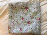 Laura Ashley Throw with Scalloped Edge - Double / King Bed or Sofa Accessory - Cotton Quilt Duck Egg