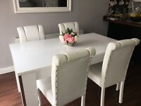 Beautiful WHITE GLOSS DINING TABLE & 4 FAUX LEATHER CHAIRS / Cost £600 new