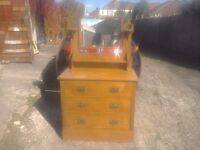 Solid oak chest of drawers with mirror