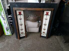 Iron and tiled fireplace