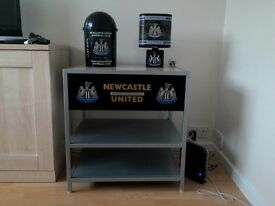 Newcastle United 1 draw TV stand, bedside lamp and swing top bin