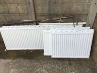 5 radiators ok condition all single first 1m/60 (2) 80cm/60 (2)180cm/60