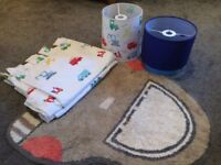 Kids bedroom Transport light shade, tab top curtains and matching rug