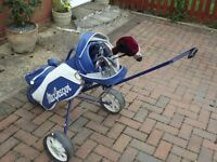 Set of Golf clubs and trolley/bag for sale.
