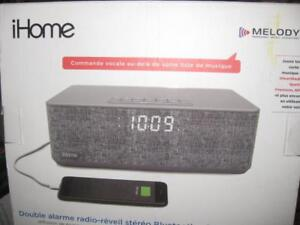 iHome IBT233 Bluetooth Dual Alarm Clock Speaker Mic. FM Radio. Melody Personal Music Assistant. USB. AUX Audio. Wireless