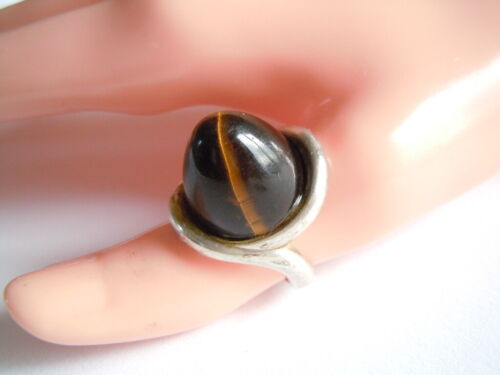 """Old """" Gl """" Stamped 925 Silver Ring With Egg Shaped Tiger Eye 0.6oz / Rg 52"""