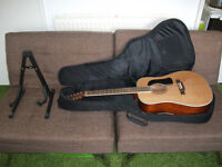 Washburn 12 string acoustic guitar, with Kaces gig bag and stand