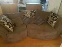 3 seater Brown and cream scatter cushion sofa - flower pattern reversible cushions