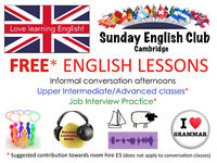 Sunday English Club: Conversation/speaking practice, Classes and special sessions