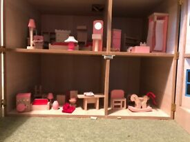 Wooden dolls house and full set of accessories