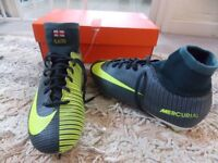 NIKE MERCURIAL CR7 SIZE 4 DARK GREEN/YELLOW WITH ANKLE SOCK