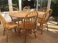 Extending Pine Dining Table & 6 x Chairs