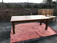 Rustic 6 seater dining table and chairs