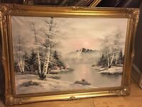 Large oil painting with gilded frame
