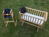 Combo John Lewis crib + high chair + groblind