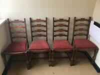 4x vintage oak dining chairs.