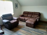 Sofa suite. 3 Seater Sofa, Electric Reclining Chair and Storage Footstool. New.