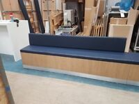 Angled Bench Seat 3 piece with 6 upholstered cushions
