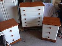 Beautiful pine and Laura Ashley ivory bedside tables wardrobe chest of drawers cupboard bedroom