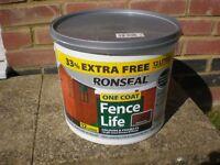 12 Litres Ronseal One Coat Fence Life Medium Oak New/Unused