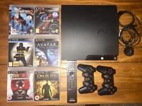ps3 slim console 232 GB with 2 wireless controls & Bluetooth remote.