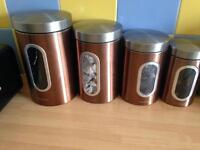 Brass coffee, tea, sugar and biscuit jars