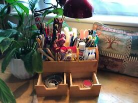 Vintage wooden desk tidy with drawers