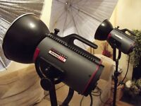 Complete Photographic Studio Equipment - includes lights, backdrops and posing stools