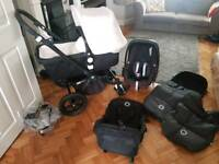 Bugaboo cameleon3 sand fabric black frame with maxi cosi pebble car seat foot muff and rain cover