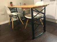 Adjustable wooden beer table in a perfect condition, ideal for indoor and outdoor