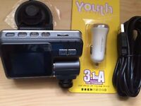 Dash cam with 3 metre charging cable and dual port USB charger