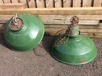 "16"" Green Thorlux Industrial Vintage Enamel Factory Pendant Lamp"