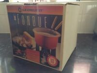 Le Creuset fondue set - blue, with stand & burner, with original packaging