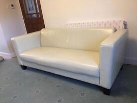 Cream 3 seater leather sofa