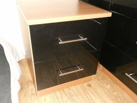 Black Gloss and Walnut bedside table