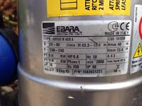 Submersible fresh water pump: Ebara Idrogo M 40/8. Used but in good condition. £100.