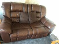 Brown Leather 2 seater sofa and chair electric recliners