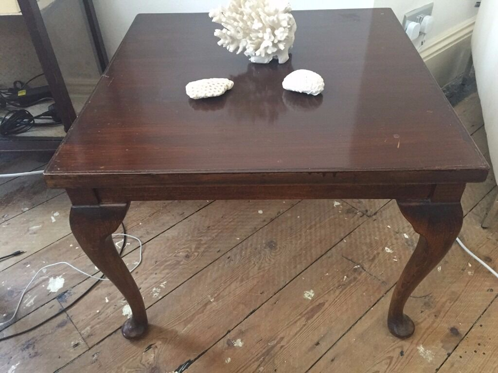 Vintage Antique Solid Wood Coffee Table Side Table With Turned Legs Very Pretty