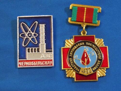 set 2 Russian Soviet Chernobyl LIQUIDATOR medal badge Chernobyl Tsernobyl #3
