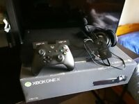 Xbox One X Console + Controller + 2 Rechargeable Batteries + Turtle Beach Headphones