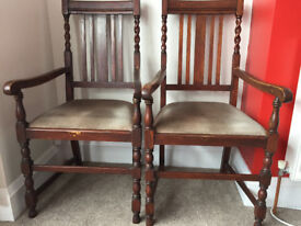 2 Antique Dining Chairs 1800s to early 1900s Vintage Retro Chairs Decadent Throne