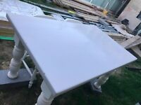 Grey and White Farmhouse table and 5 chairs