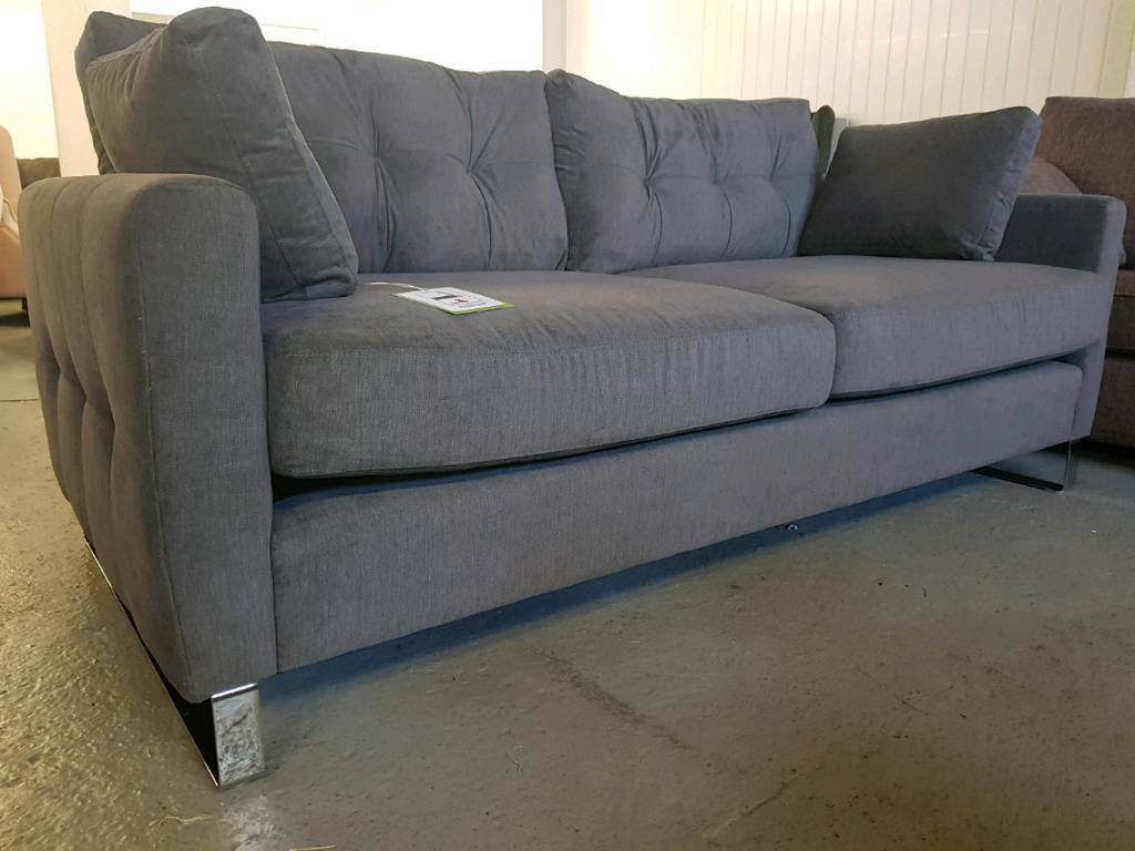 New Dwell Paris Dark Grey 3 Seater Sofa Delivery Available
