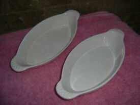 Two Heat resistent serving dishes.