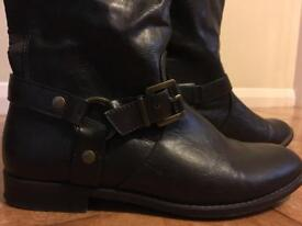 Dark brown faux leather size 4 boots. From NEXT. Below knee.