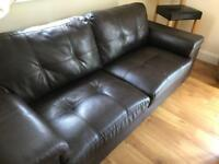 2 brown Leather 3 seater sofas bargain at 150