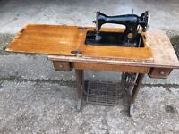 Singer Treadle Sewing Machine in Wooden Work Station
