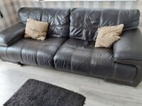 Large leather sofa and armchair