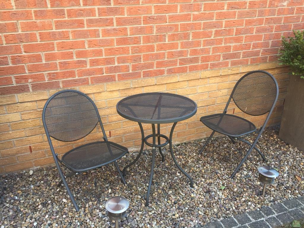 2 Seater Grey Metal 60cm Garden Bistro Set In Wakefield West